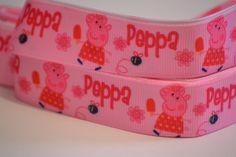 "Peppa Pig Ribbon, 5 yards, 5/8"" wide, Hair Bow Ribbon, Scrapbook Ribbon, Grosgrain Ribbon, Nick Jr. Ribbon by LusterClusterShop on Etsy"