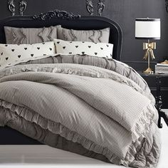 The Emily & Meritt Ruffle Stripe Girls Duvet Cover | Pottery Barn Teen