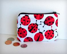 Scattered Ladybugs  Money Pouch or Coin by CrescentCityCouture, $12.00 Handmade Books, Handmade Notebook, Happy Birthday Girls, Small Coin Purse, Bug Crafts, Custom Leather, Handmade Leather, Leather Books, Leather Journal