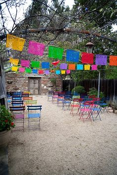 Simple way to use multiple colors. The chairs are nice but I don't think very sturdy. A little bit of an ethnic vibe here.