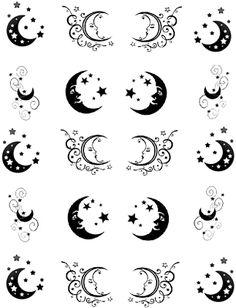 Cresent Moon Tattoo, Moon Star Tattoo, Star Tattoos, Cresent Moon Drawing, Moon Tattoos, Tatoos, Moon Design, Design Art, To The Moon And Back Tattoo