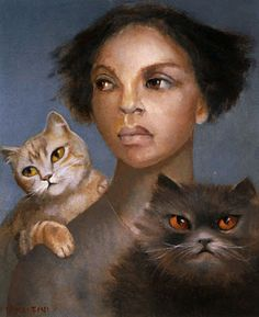 Self -Portrait With Cats ~ Leonor Fini ( 1907-1996) ~ Auto-Portrait Avec Chats, Par Leonor Fini (1907 - 1996)
