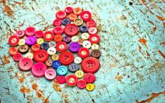 Wonderful heart made from red buttons - Love Valentines Day. - Wonderful heart made from red buttons – Love Valentines Day. Valentine's Day HD …, # - Button Art, Button Crafts, Vintage Heart, Vintage Love, Vintage Images, Tortitas Light, Wallpapers Vintage, Love Backgrounds, Mood Colors