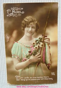 French Poisson d'Avril Postcard - Young Woman Holding a Fish & Flowers