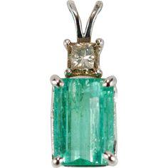 Emerald Cut Emerald Diamond Pendant 2.50ctw 14k Gold Champagne Princess Cut Diamond Emerald Pendant found at www.rubylane.com #vintagebeginshere