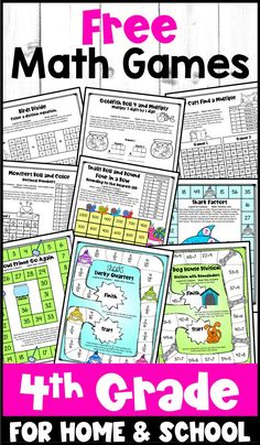 These free math games for fourth grade include color math board games and math game sheets in black and white. These are perfect for distance education or for learning at school. 10 printable games are included. Printable Math Games, Free Math Games, Math Board Games, Math Boards, Classroom Games, 4th Grade Math Games, Fourth Grade Math, Fun Math, Math Intervention