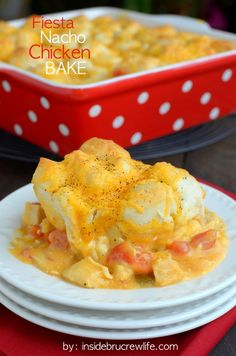 Fiesta Nacho Chicken Bake - spicy flavors turn this chicken and biscuit casserole into a dish that will warm you up from head to toes