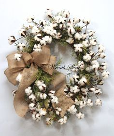 Primitive Cotton Wreath, Cotton Boll Wreath, Natural Cotton Bolls, 2nd Anniversary Gift, Southern Decor, Burlap Bow, Country Primitive Decor