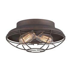 Millennium Lighting Neo-Industrial 12-in W Rubbed Bronze Flush Mount Light