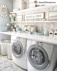 room makeover farmhouse Laundry room decor self service laundry fluff and fold vinyl decal set, washer Laundry Decor, Laundry Room Remodel, Laundry Room Organization, Laundry Room Design, Laundry Baskets, Laundry Room Small, Laundry Detergent Storage, Laundry Room Decals, Laundry Drying