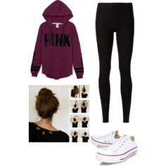 A fashion look from January 2015 featuring Victoria's Secret PINK hoodies, Rick Owens Lilies leggings and Converse sneakers. Browse and shop related looks.