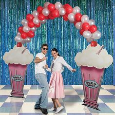Rock around the clock with Fifties Party Props from Shindigz. Theme Party Props include theme kits and more! Order your party props today! Fifties Party, Retro Party, Diner Party, 50s Theme Parties, Party Themes, Party Ideas, Sock Hop Decorations, Grease Party, Sock Hop Party