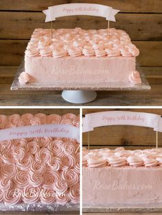 Pink Buttercream Roses Sheet Cake