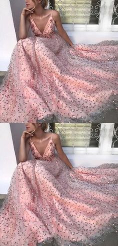 A-Line Spaghetti Straps Backless Long Pink Lace Prom Dress M2705