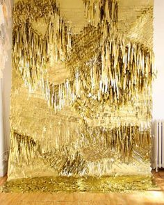 A shaggy, soft gilt creation for rug or floor - or even a bed topper - decadent luxe spa style!
