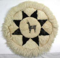 "Vintage 24"" Alpaca Fur Round Rug Brown & White Sun Star Wall Hanging PERU"
