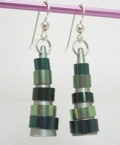 Sassafras Creations earrings. Made from recycled knitting needles