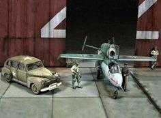 """""""Behind Hangar's Doors"""" by Joaquin G. Gazquez. 1/48 scale Heinkel He162. #Luftwaffe #diorama"""