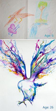 Voici des dessins montrant des progrès d'artistes avant et après !