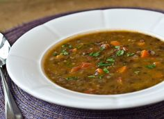 I love this elegant lentil soup for its many layers of flavor: the smokiness of the bacon, earthiness of the lentils, mild sweetness of the onions and carrots, and acidity of the tomatoes. It's made with French green lentils, which hold their shape when cooked, and thicken the soup without turning it to sludge (which is, unfortunately, the fate of