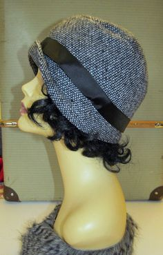 Cloche Vintage Style Black and White Tweed Art by RomanceandRuin