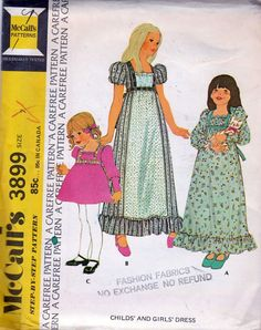 McCall's 3899; ©1973; Childs' and Girls' Dress, Size 7; UNCUT - MINT - New Vintage Studio