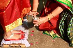 #Indian bride's feet decorated with Alta