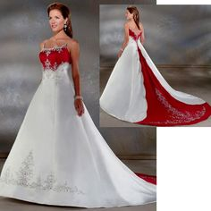 Petite-Plus Size Maternity White Red Second Wedding Dresses Bridal Gowns with Color SKU-118125