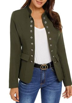 Let them fall in love with your tough style when you wear this army green stand collar open-front blazer over your casual sleeveless dress. Blazer Outfits, Casual Outfits, Cute Outfits, Black Military Jacket, Military Army, Army Look, Green Blazer, Army Green, Store