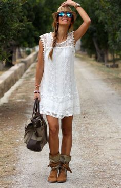 Lace dress, hat and boots