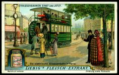 """Tramways Then & Now"" German issue, 1914 Electric Tram in Paris"