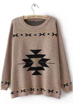 Khaki Round Neck Long Sleeve Geometric Print Sweater - Sheinside.com