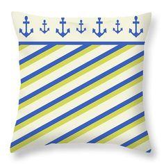 Nautical Pattern Throw Pillow by Christina Rollo