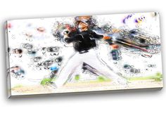 Baseball Home Run Graphic Art on Gallery Wrapped Canvas