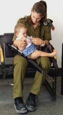 """""""Over protective Jewish mothers, IDF style"""" 'I'm sure an M16 in a Jewish mother's hands keeps the yeledim (children)...safe...'"""
