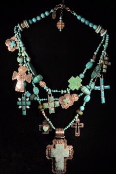 cross necklace. Turquoise, crosses, cross, altered, art, western, cowboy, southwestern