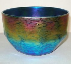 INCREDIBLY Gorgeous LUNDBERG Signed MIND BLOWING Rainbow IRIDESCENT Glass BOWL