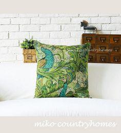 "$15 | Nature Inspired | Peacock Botanical Throw Pillow Cover | 45x45cm 18""x18""   #homedecor #throwpillows #pillowcover #natureinspired #botanical #botanicalprint #peacock"