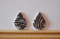Polymer clay cabochon pair, handmade cabochon, Fimo cabochon ( 152. ) by Beabead on Etsy