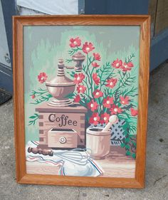 Antique Coffee Grinder & Flowers Kitchen Scene Paint by Number Vintage Painting