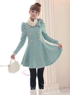 Fascinating Bowknot Gentlewomanly Double Breasted Sweet Slim Woolen Overcoat With Fur Collar