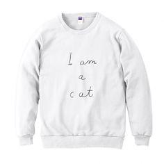 スウェット「I am a cat」(ホワイト)