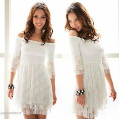 Womens Sexy Off Shoulder Mini Dresses Lovely Layered Frill Lace Bell Sleeve 4738 | eBay