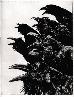 Raven (bird, crow) Series- INQUISITION II -new larger version Intaglio Etching image size 8.25 inch x 10.50 inch 2011 byLarry Vienneau Jr