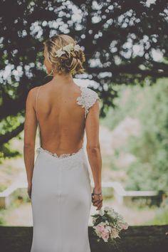 Backless David Fielden wedding dress   onefabday.com