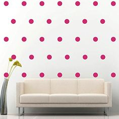 $15.99  - 2 Set of 200 Hot Pink Polka Dots Circle Wall Decal Vinyl Sticker Wall Pattern Decor *** You can get additional details at the image link. (This is an affiliate link) #WallStickersMurals