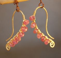 Luxe Bijoux 5 Hammered earrings wrapped with pink ruby by Calico Juno Jewelry Etsy