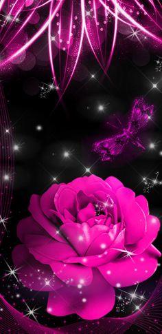 By Artist Unknown. Purple Butterfly Wallpaper, Pretty Phone Wallpaper, Cute Emoji Wallpaper, Neon Wallpaper, Iphone Background Wallpaper, Cellphone Wallpaper, Pretty Wallpapers, Colorful Wallpaper, Flower Wallpaper