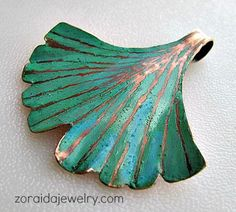 ginkgo cut and shaped from sheet copper