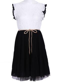 White Lace Frill Sleeve Belt Chiffon Pleated Dress US$35.00
